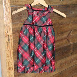 Baby Gap red & green plaid taffeta Christmas dress